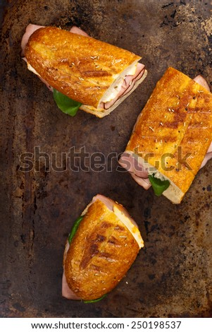 Grilled Ham and Cheese Sandwich. Selective focus. - stock photo
