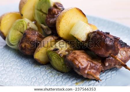 Grilled kebab (shashlik) - stock photo