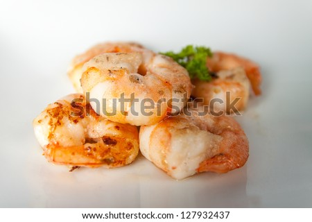Grilled King Prawns Asian Look - stock photo