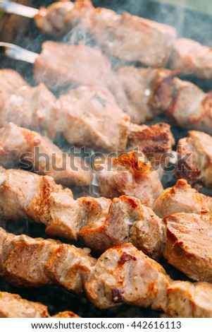 Grilled Marinated Caucasus Barbecue Meat Shashlik Shish Kebab Pork Meat Grilling On Metal Skewer. Nobody - stock photo