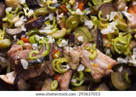 Grilled meat and vegetables, delicious rustic food - stock photo