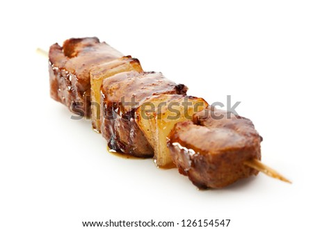 Grilled Meat  isolated over White - stock photo