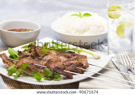 Grilled meat on a skewers - stock photo