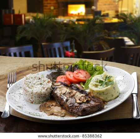 Grilled meat with trimmings - stock photo