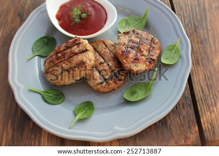 Grilled meatballs - stock photo