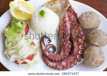 Grilled octopus tentacles on a plate - stock photo