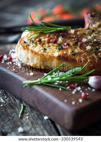 Grilled pork chop  - stock photo