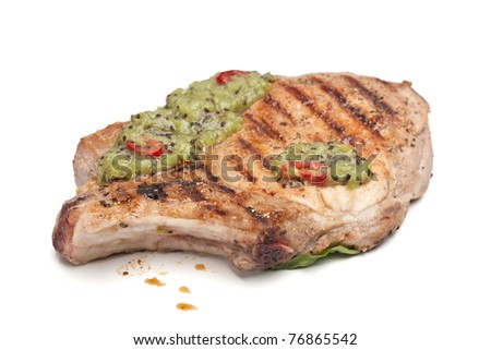 grilled pork chop with kiwifruit sauce - stock photo