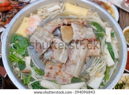 Grilled pork on barbecue pan - stock photo