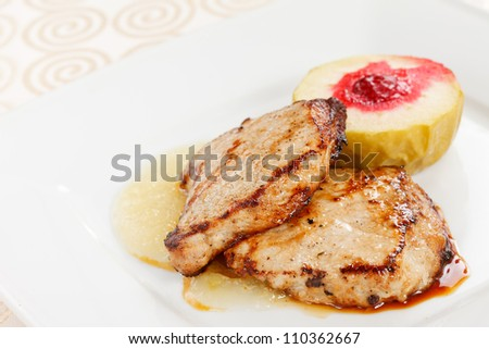 grilled pork with apple - stock photo