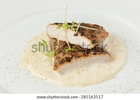 Grilled Pork with Lemon Sauce Isolated on White Background - stock photo