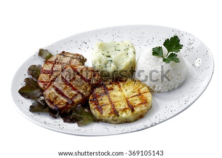 Grilled pork with pineapple isolated on white background - stock photo