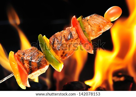 Grilled pork with vegetable - stock photo