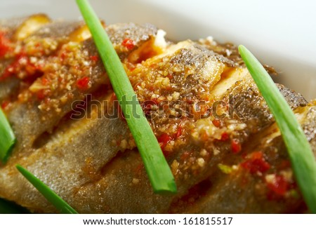 grilled Rainbow Trouts.Served with Vegetables - stock photo