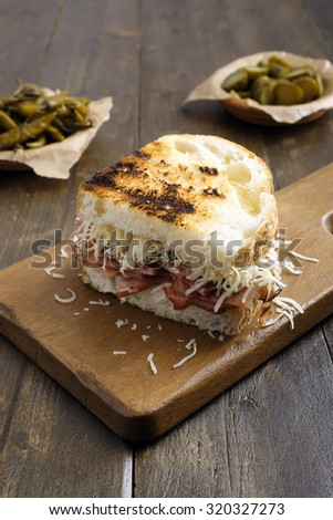 Grilled reuben sandwich with pastrami and swiss cheese - stock photo