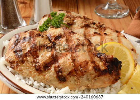 Grilled rosemary chicken breasts on a bed of white rice - stock photo