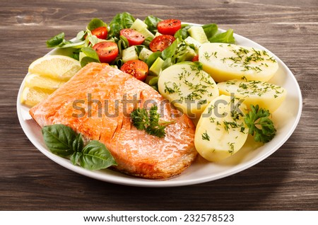 Grilled salmon and vegetables - stock photo