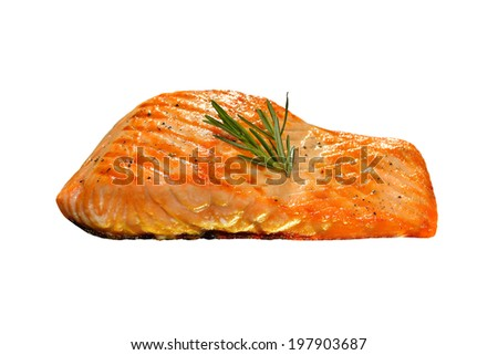Grilled salmon isolated on white background. - stock photo