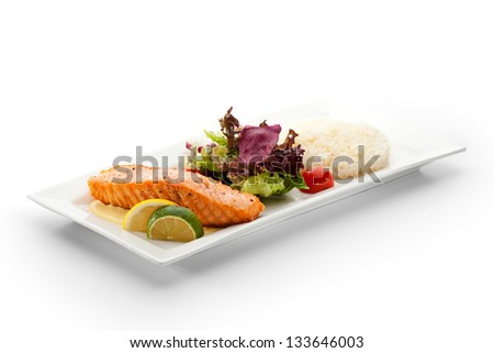 Grilled Salmon with Fresh Salad Leaf - stock photo