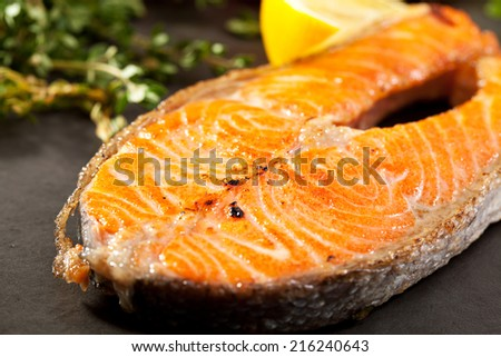 Grilled Salmon with Lemon and Rosemary - stock photo