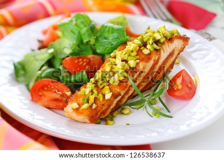 grilled salmon with pistachio and fresh salad on white plate - stock photo
