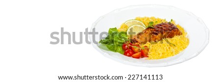 Grilled salmon with seasoned rice on White Background. Selective focus. Panoramic image. - stock photo