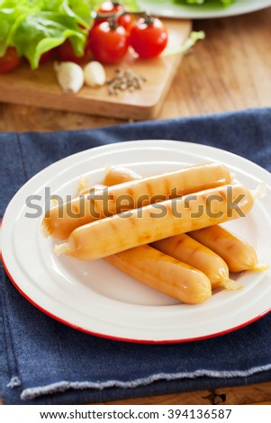 grilled sausage in plate  - stock photo