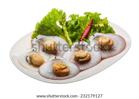 Grilled scallops with salad leaves - stock photo