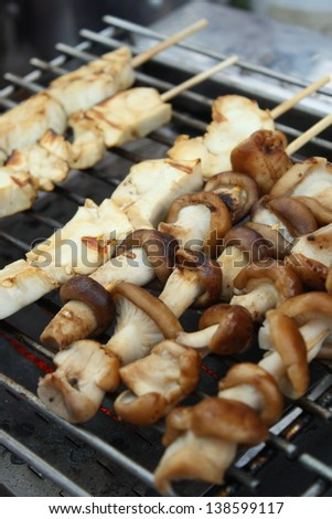 grilled shitake mushroom for appetizer - stock photo