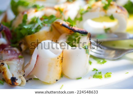 Grilled squids with vegetables - stock photo