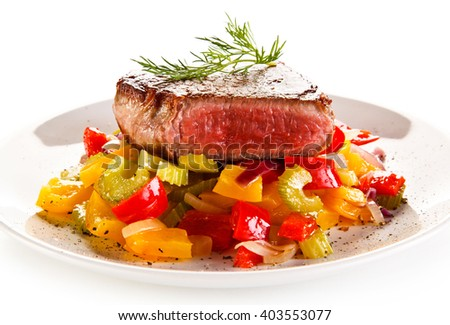 Grilled steak and vegetable salad  - stock photo