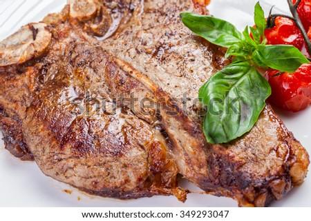 Grilled t-bone steak - stock photo