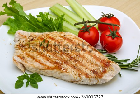 Grilled turkey steak with herbs and spices - stock photo
