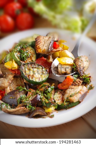 grilled vegetable salad in the white dish - stock photo