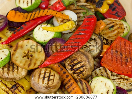 Grilled vegetables closeup - stock photo
