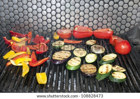 grilled vegetables cooking in a restaurant - stock photo