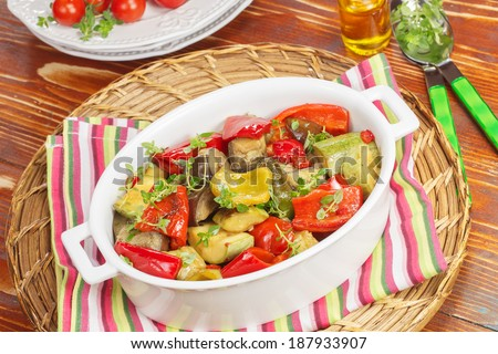 Grilled vegetables. Grilled vegetables with rosemary and thyme - stock photo