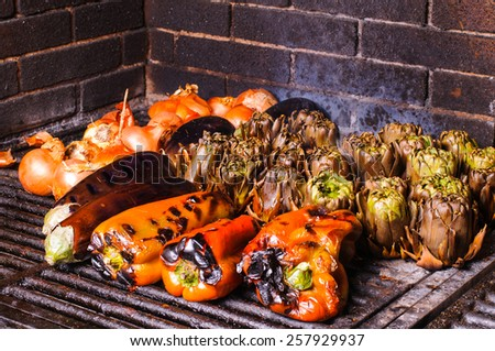 Grilled vegetables is a typical dish of Catalonia in Spain - stock photo