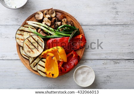 grilled vegetables mix on plate, above - stock photo