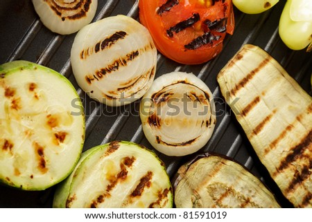 Grilled vegetables on pan close-up - stock photo