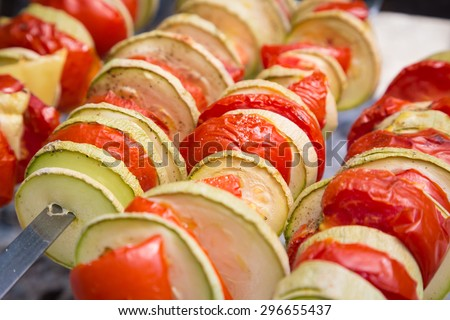 grilled vegetables on skewer, healthy nutrition for picnic - stock photo