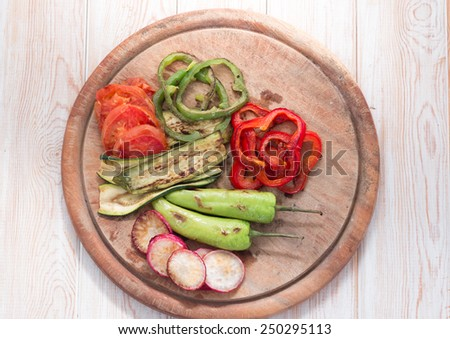 Grilled vegetables on wood top view  - stock photo