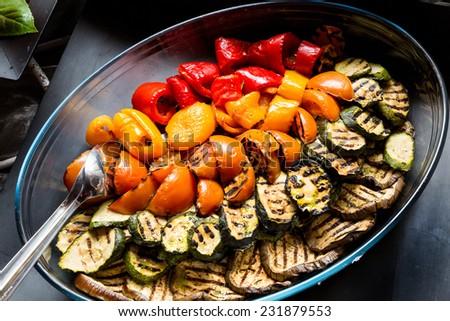 Grilled vegetables (zucchini, eggplant, pepperoni, tomato) - stock photo