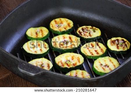 Grilled zucchini with oregano - stock photo