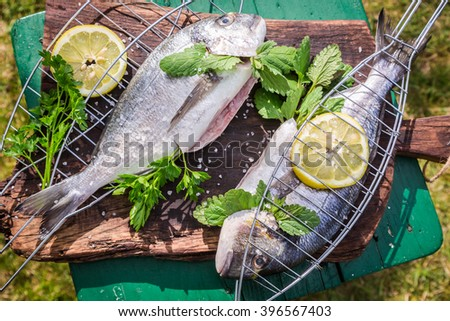 Grilling fresh fish with lemon and herbs - stock photo