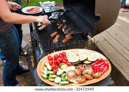 Grilling is a form of cooking that involves dry radiant heat from above or below, and takes place on a grill or griddle - stock photo