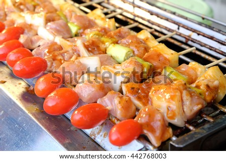 Grilling pork and Vegetable on barbecue grill thai style  - stock photo