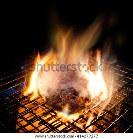 Grilling Steak - stock photo