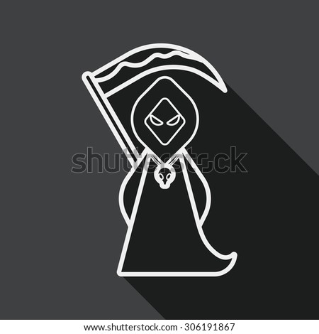 Grim Reaper flat icon with long shadow, line icon - stock photo