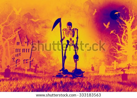Grim reaper from hell rid misbehave soul in Halloween night, Image Infrared - stock photo